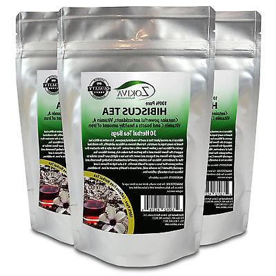 Hibiscus Tea 3-Pack 90 Bags 100% Natural Premium Antioxidant