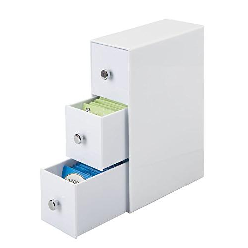 mDesign Cabinet for Tea Sugar, Salt, Sweeteners, Creamers Serve packets - Drawers - 2, White