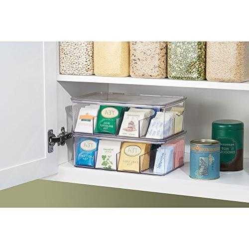 mDesign Plastic Tea Bag Storage Box for Kitchen Countertops, - Food Beverage Packets 2 - Clear