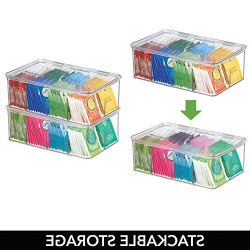 mDesign Stackable Plastic Tea Bag Storage Box Countertops, Pantry Lid Food - Beverage Bags, Packets -