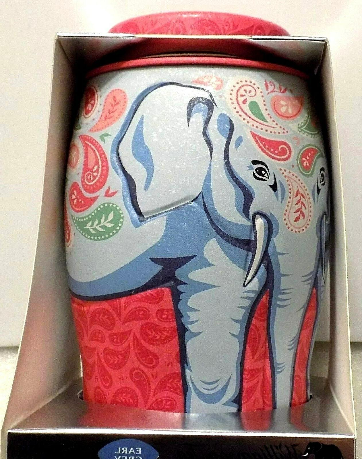 new paisley elephant tin box caddy canister