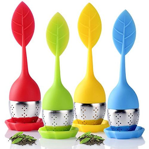 Long-Handled Tea Cup,Gift Box for Friends Stainless Steel with Drip Tray Perfect for Single Serve Cup Houswill/™ 4 Pack of Silicone Tea Infuser,Tea filters Loose Leaf Tea Strainers Mug