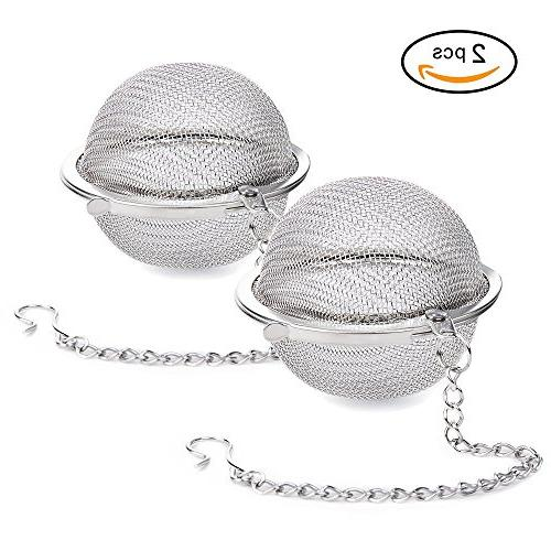 Siasky 2Pcs Stainless Steel Tea Ball 2.1 Inch Mesh Tea Infuser Strainers Premium Tea Filter Tea Interval Diffuser for Loose Leaf Tea and Seasoning Spices