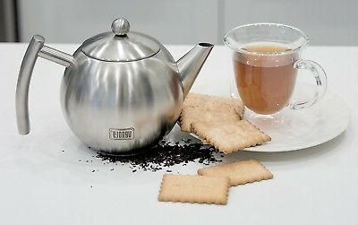 Stainless Tea Pot With Loose Leaf Tea Bags -...