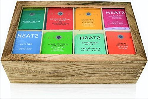 Stash Tea Bags Sampler Assortment COUNT - Perfect Pack in Wooden Gift Box - Family, Friends, Coworkers English Mint, more