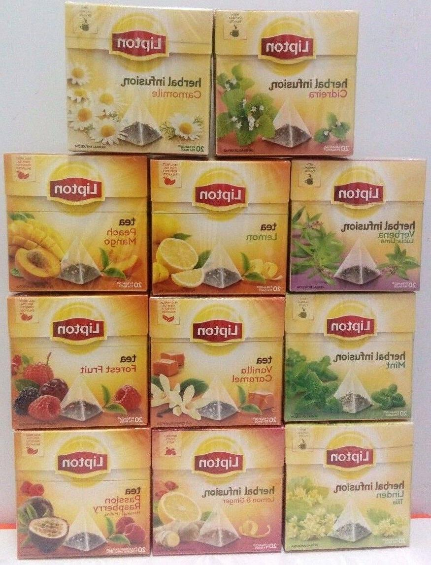 LIPTON TEA - 20 PYRAMID BAGS - SEALED BOX- REAL FRUITS TEA