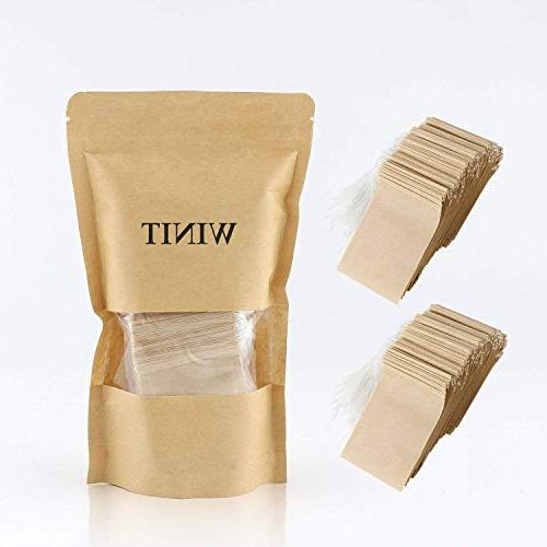 300PCS Tea Filter Bags, Disposable Paper Tea Bag with Drawstring Safe Strong Loose and Coffee