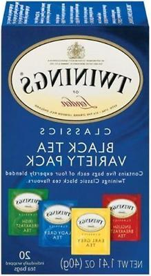 Twinings Variety Pack of Four Flavors Tea Bags 20-Count Pack