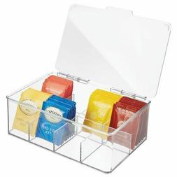 mDesign Stackable Plastic Tea Bag Organizer Storage Bin Box