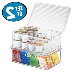 mDesign Stackable Kitchen Box Organizers for Coffee Pods, Te