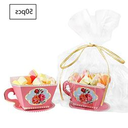 E-Goal 50PCS/Pack Mini Teacup Shape Wedding Favors Candy Box