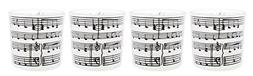 """Set of 4 Fashioncraft Music Note Motif 2"""" Glass Candle Holde"""