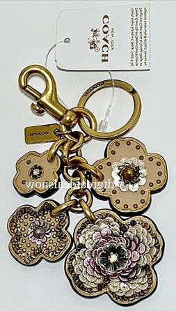 NEW Coach Leather Sequin Tea Rose Floral Bag Charm Keychain