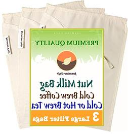 3 Pack  Organic Cotton Nut Milk Bag & Cold Brew Coffee - Gre