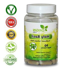 Origin India Holy Basil  Supplement, 90 Veggie 1000 Mg Pure