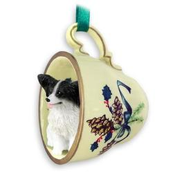 Papillon Green Holiday Tea Cup Dog Ornament - Black & White