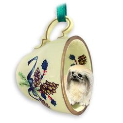 Conversation Concepts Pekingese Tea Cup Green Holiday Orname