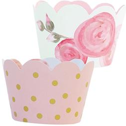 Pink and Gold Party Supplies 1st Birthday, 36 Floral Cupcake