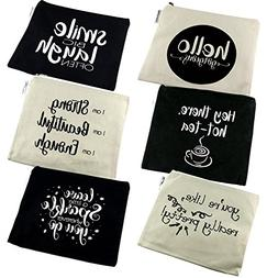 Positive Messages Canvas Cosmetic Bag and Travel Makeup Zipp