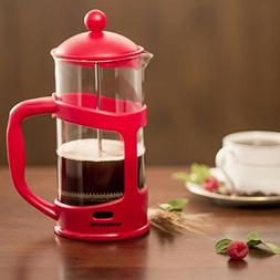 Red 8 cup French Press Coffee Tea Maker Heat Resistant Boros