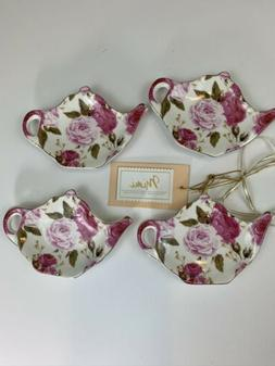 SET OF 4 ROSE TEA BAG PLATES-NEW WITH TAGS. GREAT GIFT.