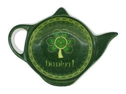 Shamrock Spiral Ireland Tea Bag Holder With A Green And Yell