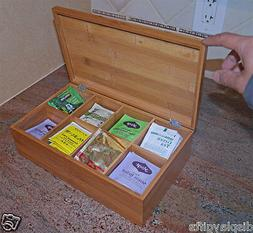 Tea Bag/Spice Storage Box Chest  Cabinet, Natural Bamboo, Y0