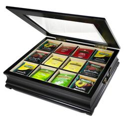Tea Chest Large Storage Tea Bag Box Wooden with Beveled Wind