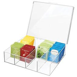 Tea Storage Organizer Box Divided Sections Lid Holder for Te