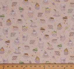 Teacups Cups Tea Bags Kitchen Snowflake Cream Cotton Fabric