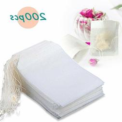 Thiroom 200pcs Disposable Filter Empty Teabags Drawstring He