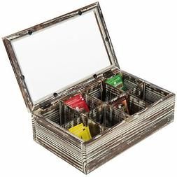 MyGift Torched Wood 8-Compartment Tea Bag Storage Chest with
