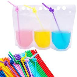 Total 200pcs Drink Bags Set - 100 Pieces Translucent Heavy D