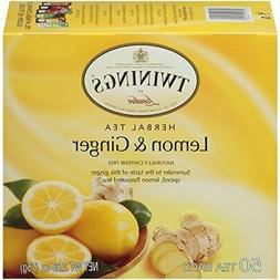 Twinings Lemon and Ginger Tea,  50 count Tea Bags