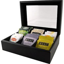 Wood Tea Chest with Window - 6 Compartments