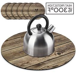Wooden Farmhouse Teapot Trivet Set, Hot Pad for Table with 6