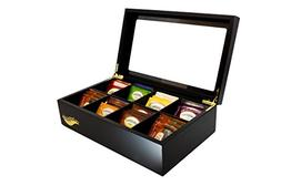 The Bamboo Leaf Wooden Tea Box Storage Chest, 8 Compartments
