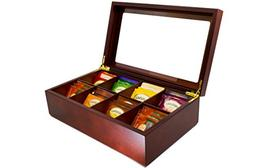The Bamboo Leaf Wooden Tea Storage Chest Box with 8 Compartm