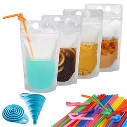 50 Pcs Zipper Plastic Pouches Drink Bags, Heavy Duty Hand-He